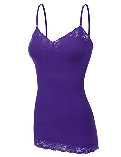 Bozzolo Women's Lace Neck Camisole Top, XX-Large, Dark Purple