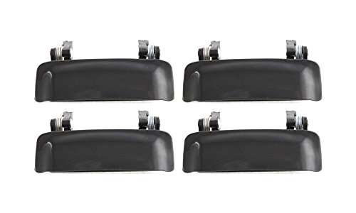 Evan-Fischer EVA18772063818 New Direct Fit Exterior Door Handles for Set of 4 Front and Rear Left and Right Side Plastic Smooth Black Replaces Partslink# FO1310117 (Ford Door 1999 Explorer 4)