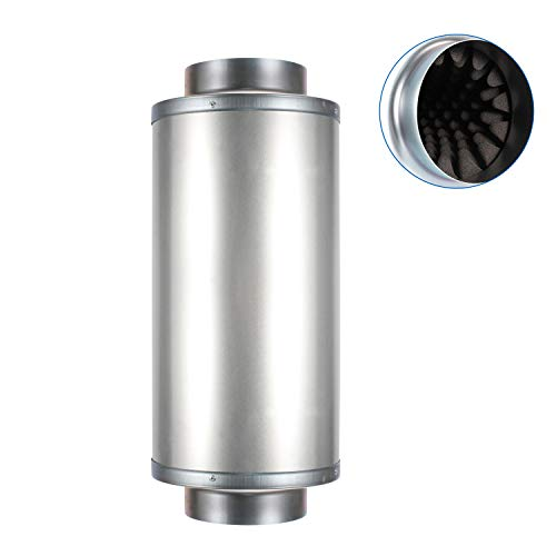 Hon&Guan 4 Inch Duct Silencer, Noise Reducer Hose Silencer for Inline Duct Fan in HVAC System