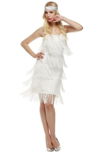 Vintage Flapper Gatsby Lace Women's Hem Fringed Flapper White Dress 1920s Dresses Tassels Great 81HEvx