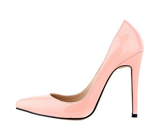 Spitz Damenmode Zehe Rosa Mund PU On Kleid Pumps Hochhackige Schuhe Patent Flacher Slip Sexy tAqrt