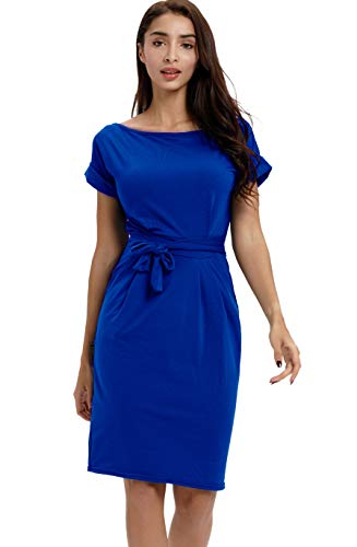 Payeel Office Midi Dresses O-Neck Pencil Dress Pockets with Belt Vest Dresses (Blue, ()
