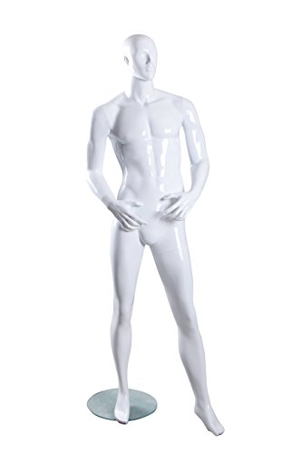 Male Full Body Fiberglass Abstract Egg Head Mannequin Glossy White (MH03) by Only Mannequins®