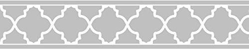 Sweet JoJo Designs Gray and White Trellis Print Modern Lattice Wall Paper Border