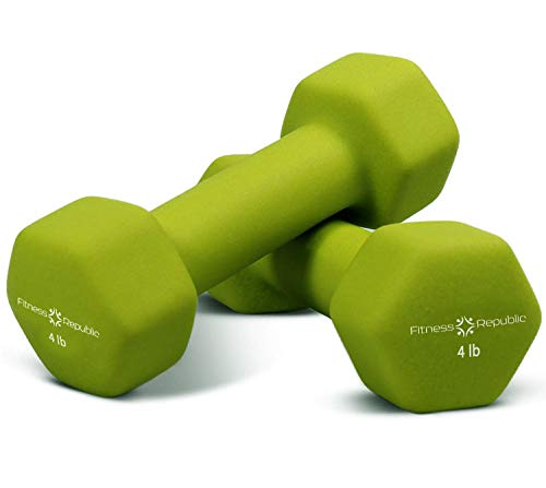 Fitness Republic Neoprene Dumbbells Set of 2, 4 Pounds Set Non-Slip, Hex Shape, Free Weights Set Muscle Toning, Strength Building, Weight Loss, Portable Weights Home Gym Hand Weights, 4lb Aqua