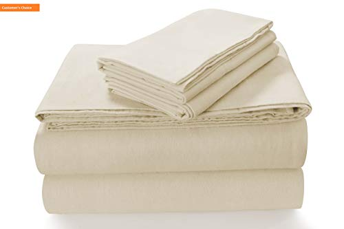 (Mikash New Soft SOLFL170SSKIIV Solid 5-Ounce Flannel Extra Deep Pocket Sheet Set King Ivory | Style 84601333)