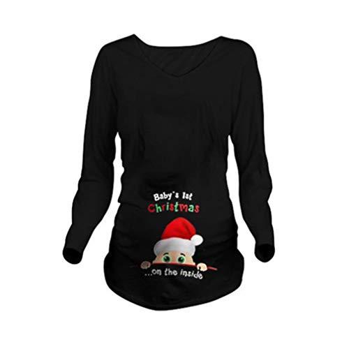 e5125c8a7 WEIMEITE Camiseta Maternidad Manga Larga Mujer Camiseta Navideña Rstampado  Blusa Informal  Amazon.es  Ropa y accesorios