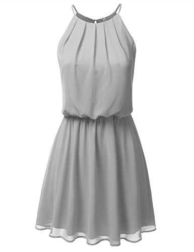 DRESSIS Womens Double Layered Chiffon Mini Tank Dress Grey M