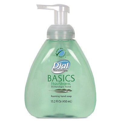 Dial 1437344 Basics Hypoallergenic Foaming Hand Soap with Tabletop Manual Pump, 15.2oz Bottle (Pack of 4) by Dial