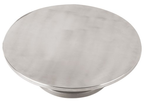 Revolving Circular Cake Display - Paderno World Cuisine 11 7/8 Inch by 4 Inch Aluminum Revolving Cake Stand
