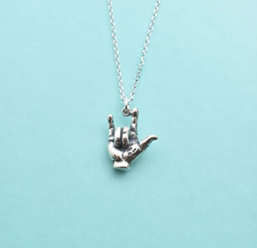 I love You In Sign Language charm pendant necklace in sterling silver on a 16