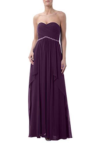 Traegerlos La Abendkleider Elegant Traube Partykleider Brautjungfernkleider Empire Marie Bodenlang Braut xxa4HWnOwC