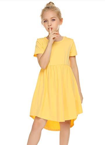 Balasha Girl's Summer Casual Dress Short Sleeve Cotton Swing Skater Twirly T-Shirt Dress Yellow, 7-8