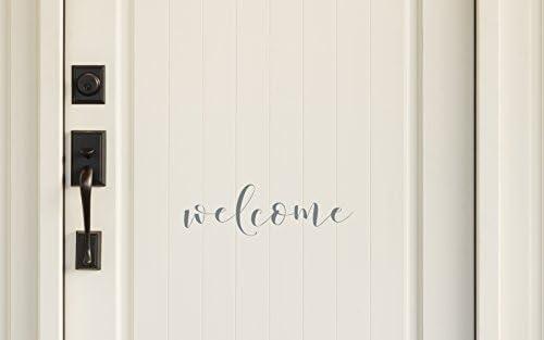 The Vinyl Design Company Welcome Vinyl Door Decal Sticker 15.75 W x 5 H White