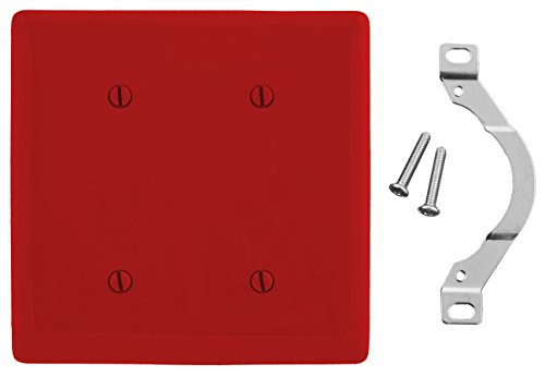 Red Nylon Blank - Bryant Electric NP24R Nylon Standard Size 2-Gang 2-Blank Strap Mount Wallplate, Red