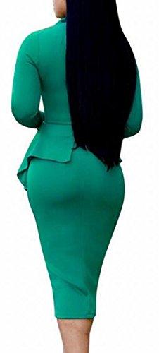 Sleeve Long Bodycon Green1 Womens Bow Peplum Tie Sexy Dress Dress Neck Alion Cocktail ywqYXT11