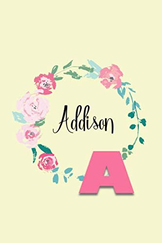 Addison: Personalized Monogram Initial Journal - Pink Marble and Gold Cover with Feminine Pages for Women and Girls