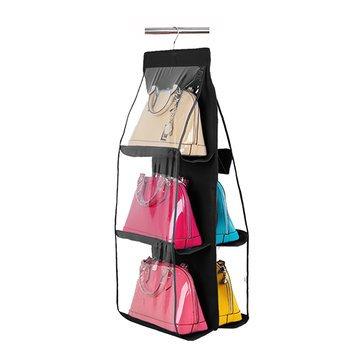 Bag Organizer - Handbag Organizer - Purse Storage Bag - 6 Pocket Hanging Handbag Purse Bag Tidy Organizer Storage Wardrobe Closet Hanger - Purse Storage Organizer(Black)