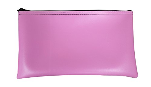 Cardinal Bag Supplies Vinyl Zipper Bags Leatherette 11 x 6 inches Small Compact Pink 1 Zippered Pouch CW