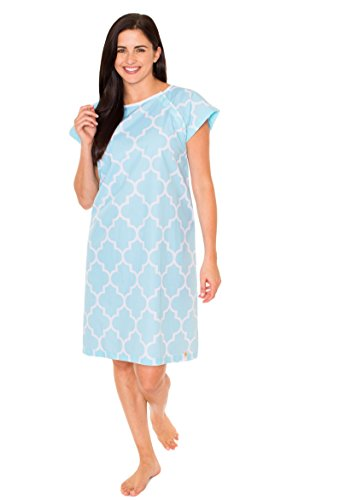 Cotton Hospital Gowns - Gownies Hospital Patient Gown, Designer (S/M Size 0-10, Marin)