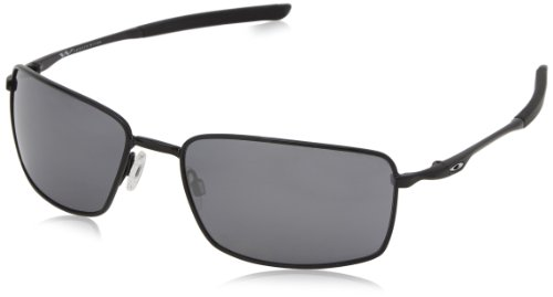 Oakley Square Wire Non-Polarized Iridium Rectangular Sunglasses,Polished Black,60 ()