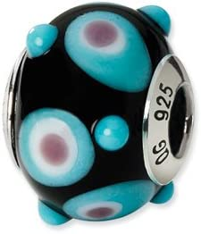 Sterling Silver s Black//blue//white//pink Italian Murano Bead by Reflection Beads