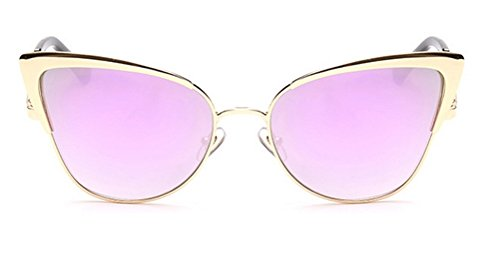 GAMT Womens Fashion New Durable Cat Eye Wayfarer Sunglasses Goggles UV400 Gold Framed Purple And Pink Lens (Hippie Framed Sunglasses)