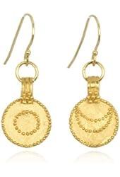"""Satya Jewelry """"Gold Sun Moon"""" 24K Yellow Gold Earrings"""