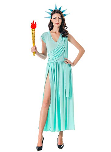 Lady Liberty Costume for Women - Patriotic Party Miss Statue of Liberty Adult Cosplay Dress Blue ()
