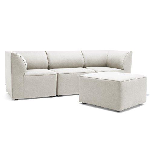 Big Joe Lux Modular Indoor / Outdoor Four Piece Sectional, Cast Silver Sunbrella