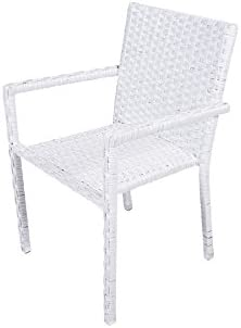 COVERI 25811329 – Sillón con reposabrazos Imperial WIKER Blanca, silla de ratán trenzada, silla para exteriores de ratán, silla de jardín, silla para exterior, silla de exterior, silla de balcón, silla de