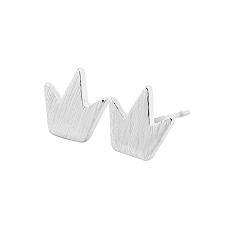 ver Fashion Korean Jewelry Small Crown Personality Exquisite Stud Earrings (silver) (Crown Earrings)