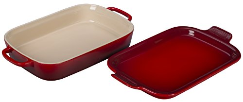 Le Creuset Stoneware Rectangular Dish with Platter Lid, 14 3/4
