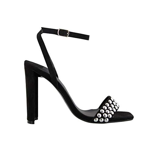 Tony Bianco Sebastian Womens Heels - Square Open Toe Sandal Embellished with Studs at Front with Curved Heels