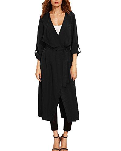 Avec D'extérieur Manteau Femme Noir Kidsform Vent Vêtements Décontractée Coupe Ceinture Longue Veste wBAwCxnHqf