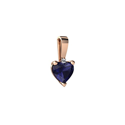 14kt Rose Gold Sapphire and Diamond 5mm Heart Solitaire Pendant