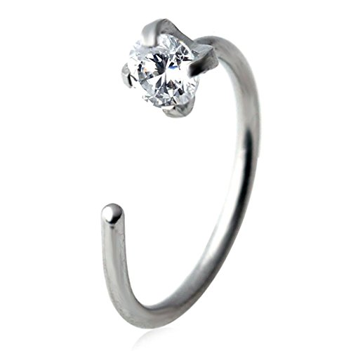 BYO 1Pcs 20G 10mm Stainless Steel 3mm Clear Round Cz Nose Stud Nose Hoop Earring Ring Body Jewelry (Flowers Hoop Ring)