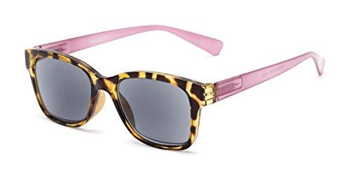 Readers.com | The Azalea Reading Sunglasses +2.00 Tortoise/Pink with Smoke Retro Square Stylish Women's Full Frame