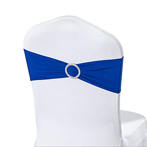 (LoveHomeBaby 50PCS Spandex Chair Sashes Bows Elastic Chair Bands With Buckle Slider Sashes Bows For Wedding Decorations Without Covers (Royal Blue))