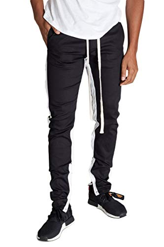Striped Track Pants with Ankled Zippers (Black/White Stripes),Small