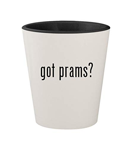 got prams? - Ceramic White Outer & Black Inner 1.5oz Shot Glass (Silver Cross 3 In 1 Travel System)