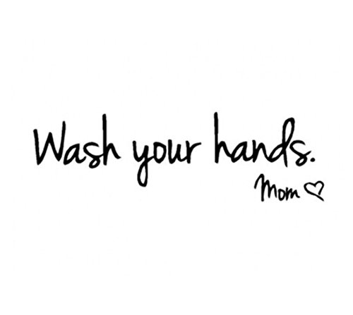 HS 1PC Wash Your Hands Mom Lettering Art quote sticker Toilet Bathroom Wall Stickers Waterproof Art Vinyl Decal Wall ()