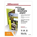 Office Depot Double-Sided Presentation Paper, Glossy, Tri-Fold, 8 1/2in. x 11in, 50 Lb, Pack of 100 Sheets, 124214