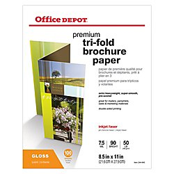 Sided Presentation Paper, Glossy, Tri-Fold, 8 1/2in. x 11in, 50 Lb, Pack Of 100 Sheets, 124214 (50 Glossy Brochure Sheets)