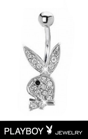 Officially Licensed Clear cz paved gem Black eye Playboy Bunny rabbit Belly navel Ring piercing bar body jewelry 14g ()