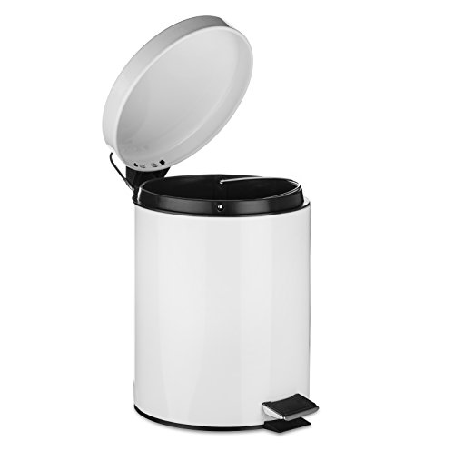 AMG and Enchante Accessories, Round Waste Bin, 5L Garbage Trash Can with Step Foot Pedal, WB03W WHT, Glossy White