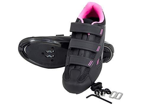 Tommaso Pista Women's Spin Class Ready Cycling Shoe - Black/Pink - SPD - 41