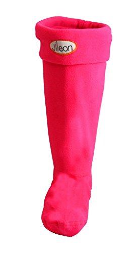 Jileon Femmes Et Hommes Chaud, Confortable Et Doux Polaire Hiver Bottes De Pluie Liners Rose Vif