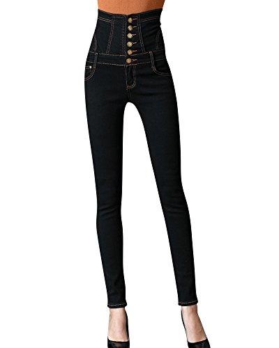 Femme Pantalons Denim Collant Slim Casual Jeans Taille Noir Crayon Haute 77vrnqP
