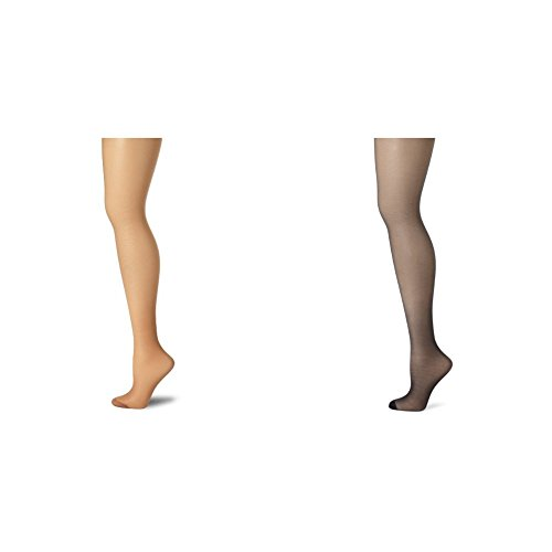 - Hanes Women's 2 Pack Control Top Reinforced Toe Silk Reflections Panty Hose, Barely There/Classic Navy, E/F